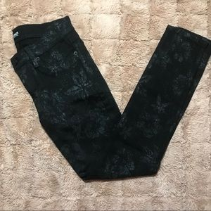 Hudson Black Jeans with silver wash flower accent